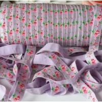 Эластичная лента Сиреневая с розами, 45 см
