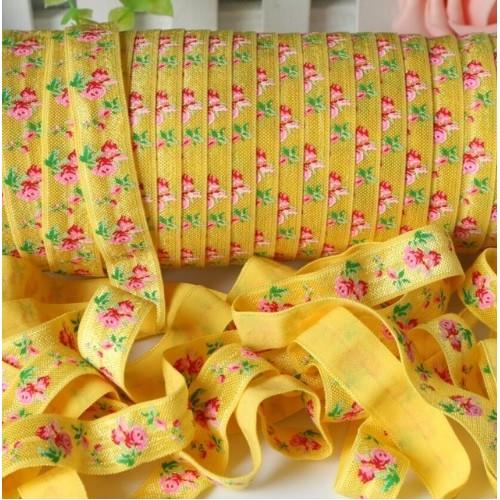 Эластичная лента Желтая с розами фото