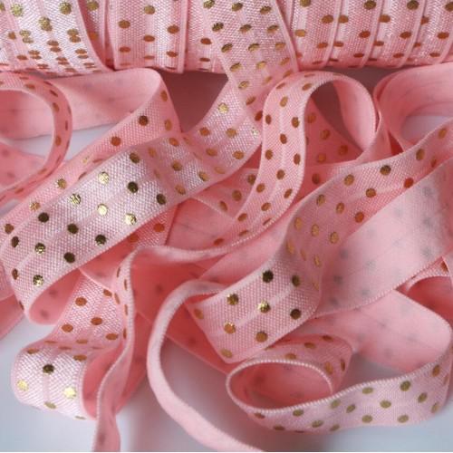 Эластичная лента Розовая с золотым горошком фото