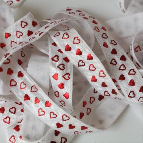Эластичная лента Белая с красными сердечками фото
