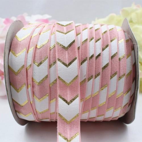 Эластичная лента Розовая с бело-золотым шевроном фото