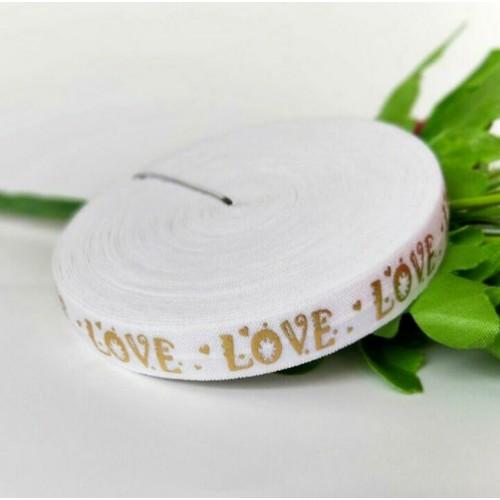 Эластичная лента Белая с золотыми сердечками и надписью LOVE фото
