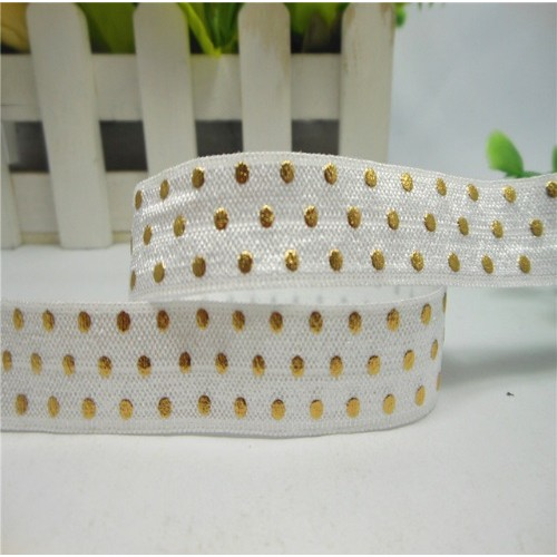 Эластичная лента Белая с золотым горошком фото