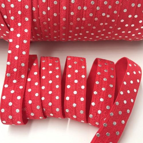Эластичная лента Красная с серебристым горошком фото