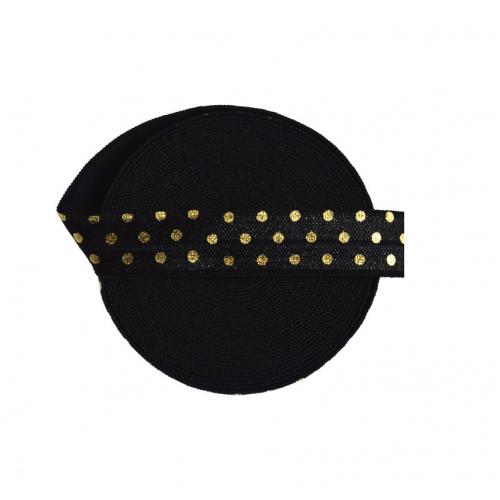 Эластичная лента Черная с золотым горошком фото