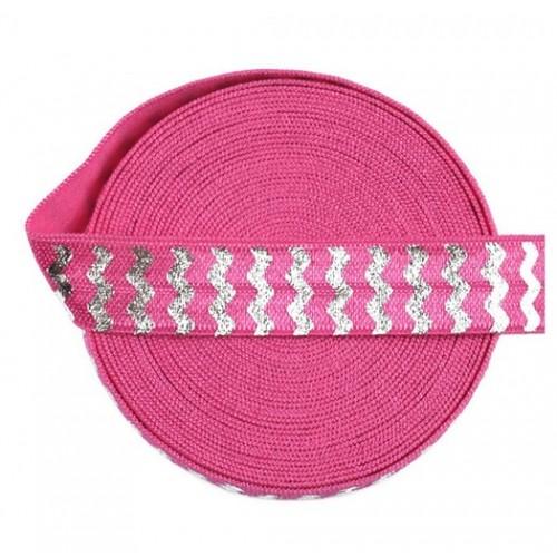 Эластичная лента Розовая с серебряным шевроном фото