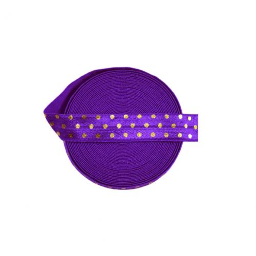 Эластичная лента Фиолетовая с золотым горошком фото