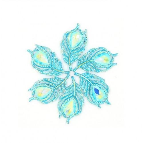 Кабошон Перо павлина бирюзовое, 40*20 мм