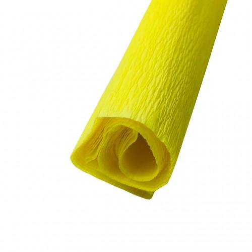 Гофрированная (креп) бумага для творчества, желтая, 50х250 см