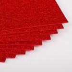 Фоамиран с глиттером на клеевой основе Красный фото