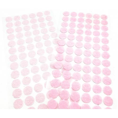 Круглая самоклеющаяся липучка розовая, 1.5 см