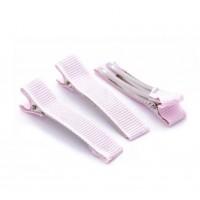 Основа для заколки в репсовой ленте светло-розовая, 3 см