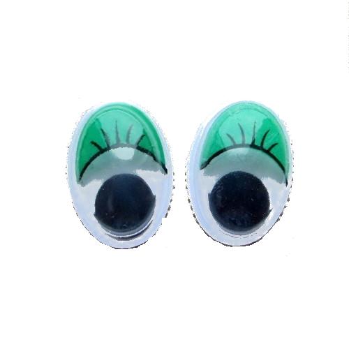 Глазки для игрушек овальные зеленые 16 мм