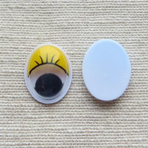 Глазки для игрушек овальные желтые 16 мм