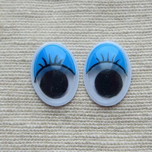 Глазки для игрушек овальные синие 16 мм