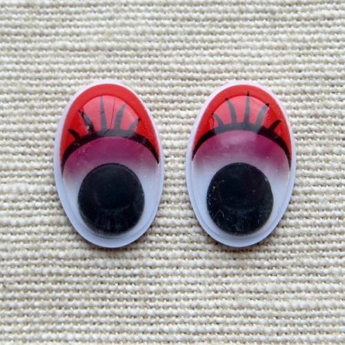 Глазки для игрушек овальные красные 16 мм