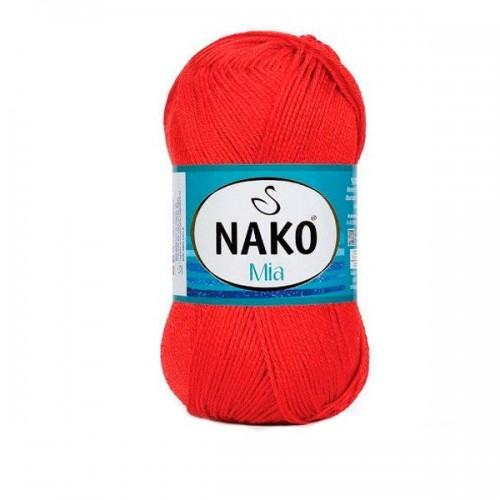Нитки для вязания Nako Mia красный № 207, фото