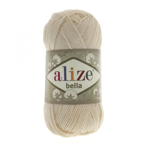 Пряжа хлопок для вязания Alize Bella молочный № 01, 50 г