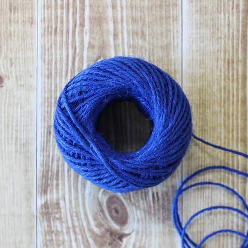 Веревка джутовая синяя, толщина 2 мм