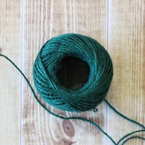 Веревка джутовая зеленая, толщина 2 мм