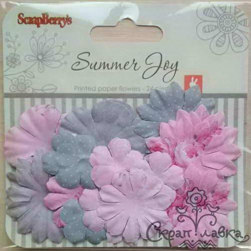 Бумажные цветы с принтом от Scrapberry's - Летняя радость - Пионы, 24 шт.