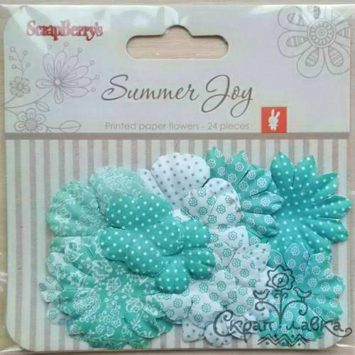 Бумажные цветы с принтом от Scrapberry's - Летняя радость - Цветущая лоза, 24 шт