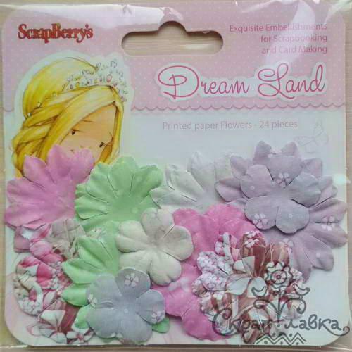 Бумажные цветы с принтом от Scrapberry's - Волшебная страна - Розовые цветы, 24 шт