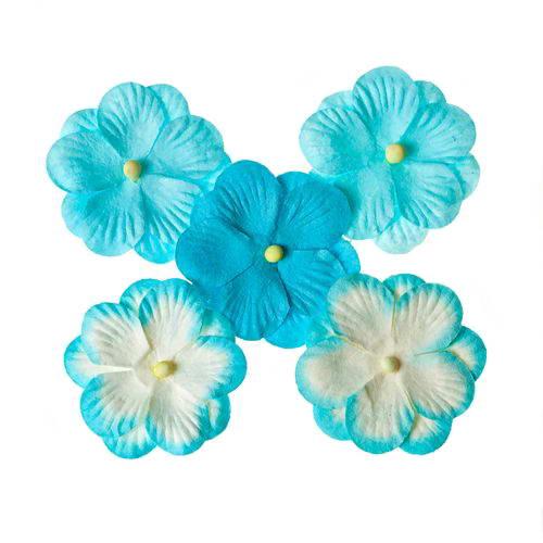 Набор цветов из шелковичной бумаги, бирюзовый