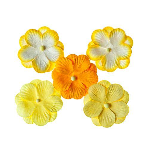 Набор цветов из шелковичной бумаги, желтый
