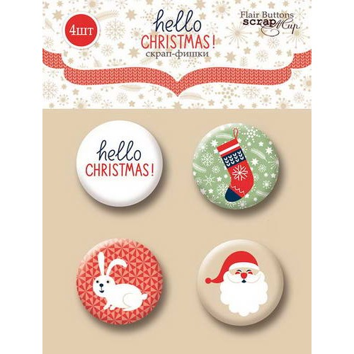 Набор скрап-фишек Hello Christmas от Scrapmir, 4 шт.