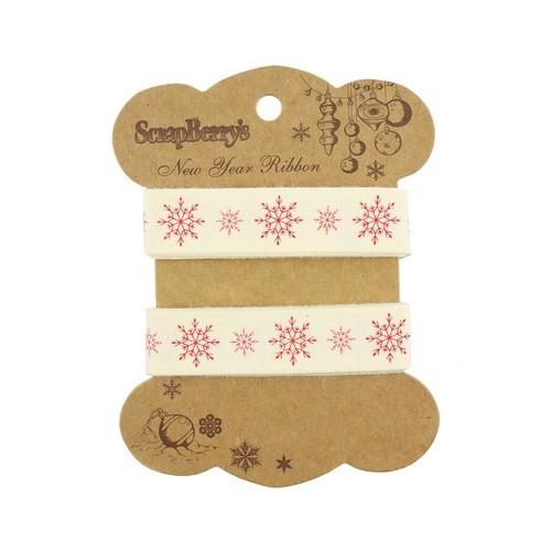 Лента хлопковая Снежинки от Scrapberry's, 2 м, ширина 15 мм