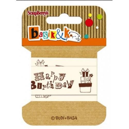 Лента хлопковая Басик, С днем рождения от Scrapberry's, 2 м, ширина 20 мм