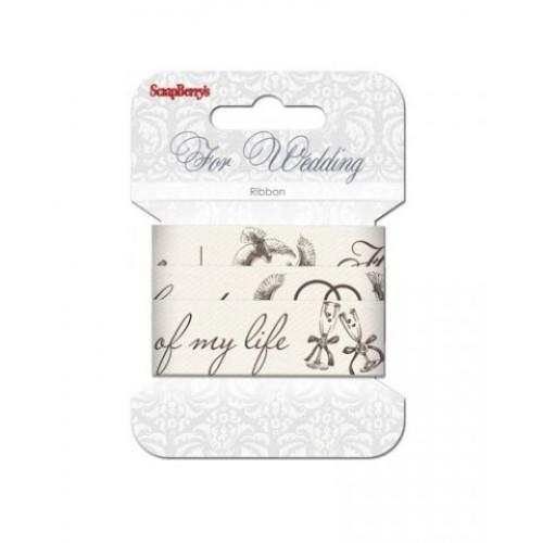 Лента хлопковая Свадьба от Scrapberry's, 2 м, ширина 25 мм