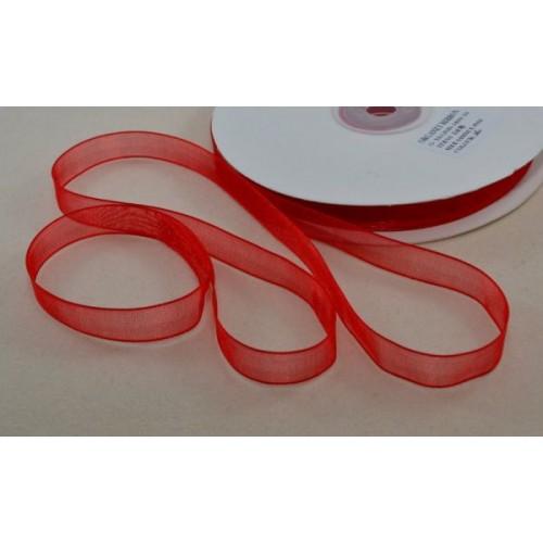 Лента органза, 1 м, ширина 3 мм - Красная