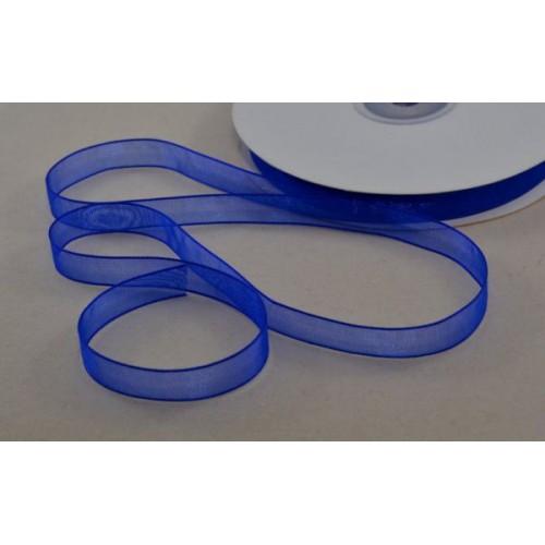 Лента органза, 1 м, ширина 10 мм - Синяя