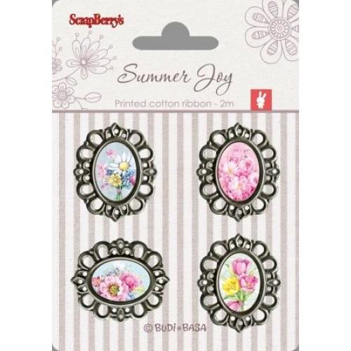 Набор украшений с металлическими рамками Летняя радость от Scrapberry's, 4 шт.