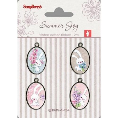 Набор металлических украшений с эпоксидными вставками Летняя радость от Scrapberry's, 4 шт.