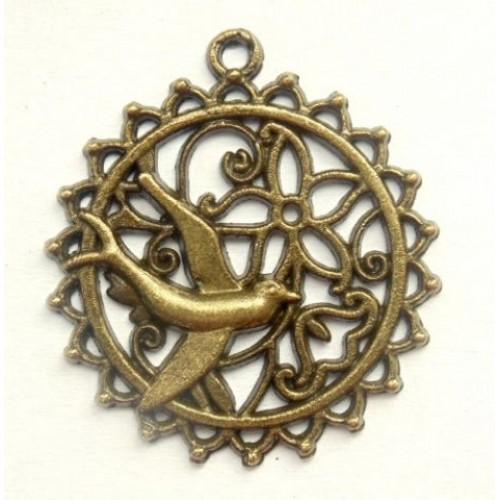 Подвеска металлическая Медальон с птичкой