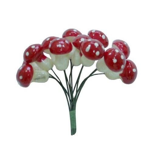 Грибочки красные декоративные, 12 шт.