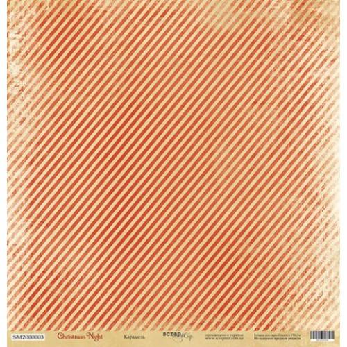 Односторонняя бумага Scrapmir из коллекции Christmas Night - Карамель, 30,5x30,5 см