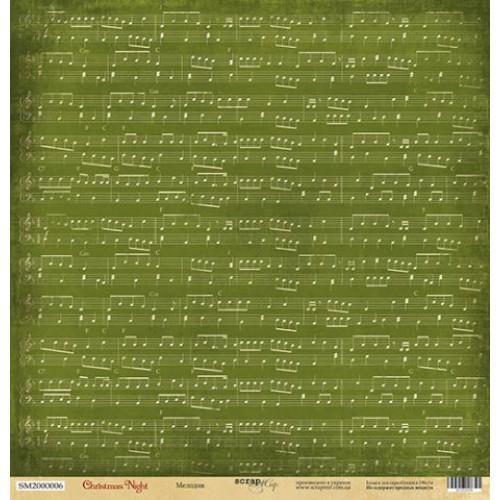 Односторонняя бумага Scrapmir из коллекции Christmas Night - Мелодия, 30,5x30,5 см
