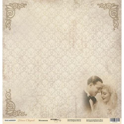Односторонняя бумага Scrapmir из коллекции Наша Свадьба - Мгновения, 30x30 см