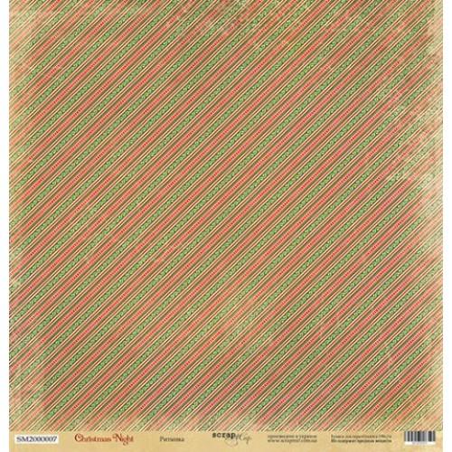 Односторонняя бумага Scrapmir из коллекции Christmas Night - Ритмика, 30,5x30,5 см