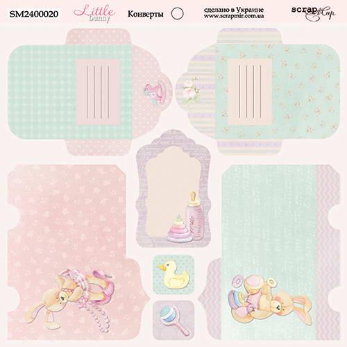 Двусторонний лист бумаги Конверты, Little Bunny, 20х20 см