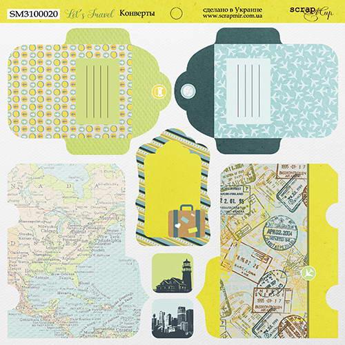 Двусторонний лист бумаги Конверты, Let's Travel, 20х20 см