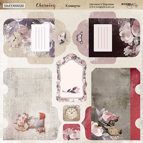 Двусторонний лист бумаги Конверты, Charming (Очарование), 20х20 см