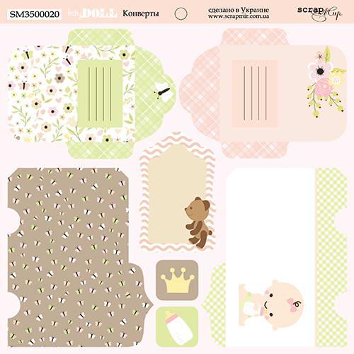 Двусторонний лист бумаги Конверты, Doll Baby, 20х20 см