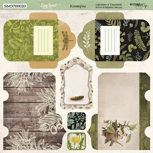 Двусторонний лист бумаги Конверты, Cozy Forest, 20х20 см