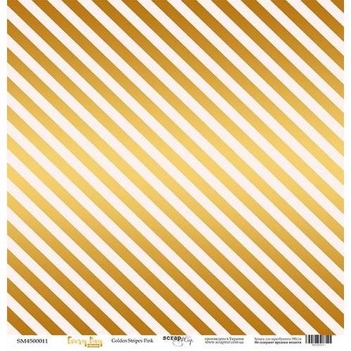 Бумага с золотым тиснением Scrapmir - Every Day Gold - Golden Stripes Pink, 30,5х30,5 см