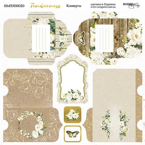 Двусторонний лист бумаги Конверты, Tenderness, 20х20 см
